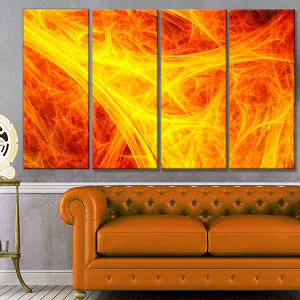 Designart Orange Mystic Psychedelic Texture Abstract Art OnCanvas - 4 Panels