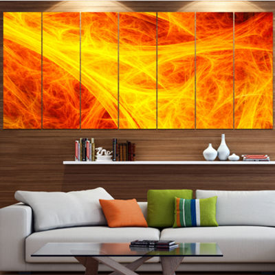 Designart Orange Mystic Psychedelic Texture Abstract Art OnCanvas - 7 Panels