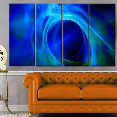 Designart Circled Blue Psychedelic Texture Abstract Art On Canvas - 4 Panels