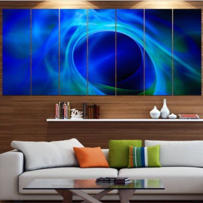 Design Art Circled Blue Psychedelic Texture Abstract Art On Canvas - 4 Panels