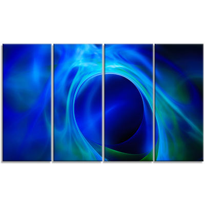 Circled Blue Psychedelic Texture Abstract Art On Canvas - 4 Panels