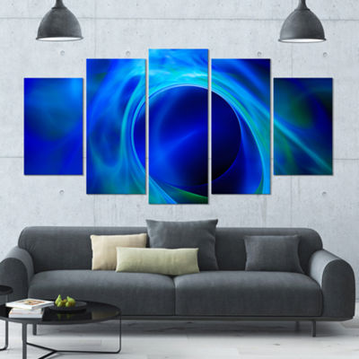Designart Circled Blue Psychedelic Texture Contemporary ArtOn Canvas - 5 Panels