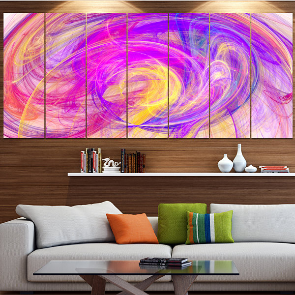 Designart Purple Mystic Psychedelic Texture Abstract Art OnCanvas - 5 Panels