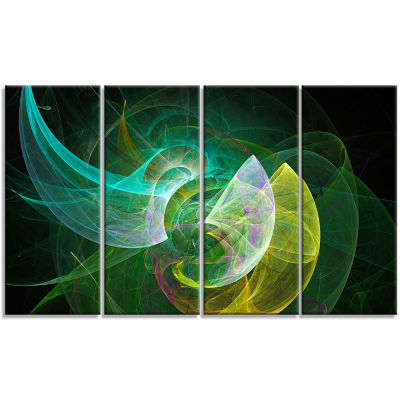 Green Mystic Psychedelic Texture Abstract Art On Canvas - 4 Panels