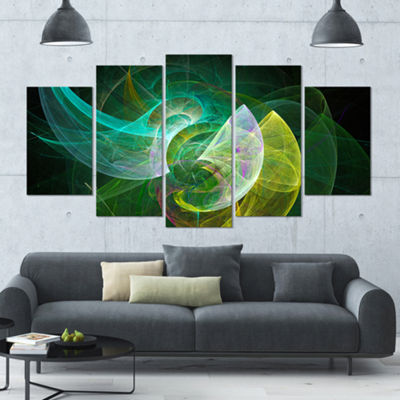 Designart Green Mystic Psychedelic Texture Contemporary Art On Canvas - 5 Panels