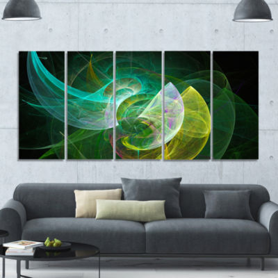 Green Mystic Psychedelic Texture Abstract Art On Canvas - 5 Panels