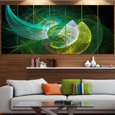 Designart Green Mystic Psychedelic Texture Abstract Art On Canvas - 7 Panels