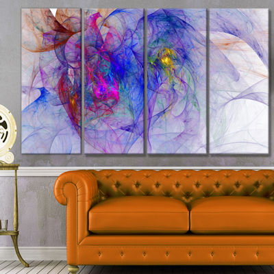 Designart Blue Mystic Psychedelic Texture AbstractArt On Canvas - 4 Panels