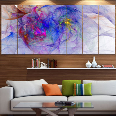 Blue Mystic Psychedelic Texture Contemporary Art On Canvas - 5 Panels