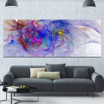 Designart Blue Mystic Psychedelic Texture AbstractArt On Canvas - 6 Panels
