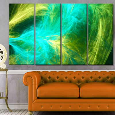 Green Mystic Psychedelic Design Abstract Art On Canvas - 4 Panels