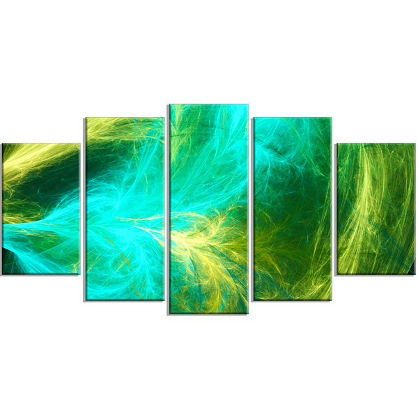 Designart Green Mystic Psychedelic Design Contemporary Art On Canvas - 5 Panels