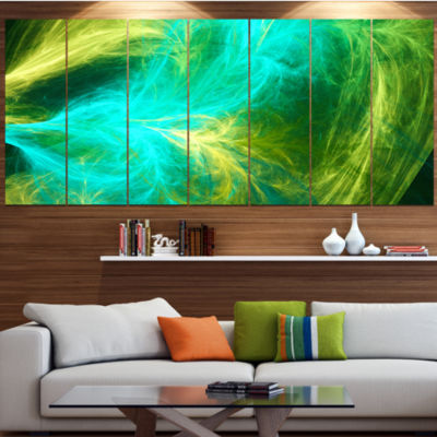 Green Mystic Psychedelic Design Contemporary Art On Canvas - 5 Panels
