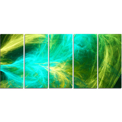 Designart Green Mystic Psychedelic Design AbstractArt On Canvas - 5 Panels