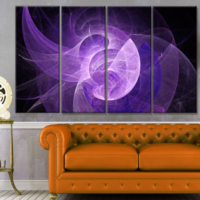 Designart Purple Mystic Psychedelic Design Abstract Art On Canvas - 4 Panels