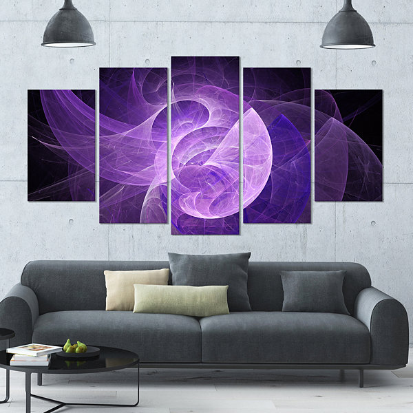 Design Art Purple Mystic Psychedelic Design Contemporary Art On Canvas - 5 Panels