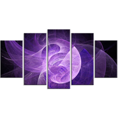Designart Purple Mystic Psychedelic Design Contemporary Art On Canvas - 5 Panels