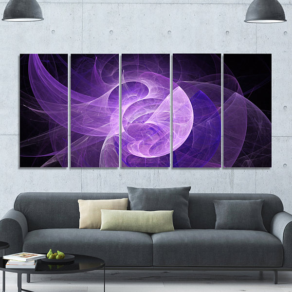 Designart Purple Mystic Psychedelic Design Abstract Art On Canvas - 5 Panels