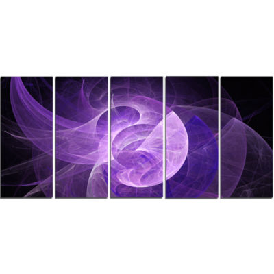 Purple Mystic Psychedelic Design Abstract Art On Canvas - 5 Panels