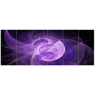 Purple Mystic Psychedelic Design Abstract Art On Canvas - 6 Panels