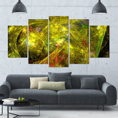 Designart Golden Mystic Psychedelic Texture Contemporary Art On Canvas - 5 Panels