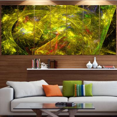 Designart Golden Mystic Psychedelic Texture Abstract Art OnCanvas - 5 Panels