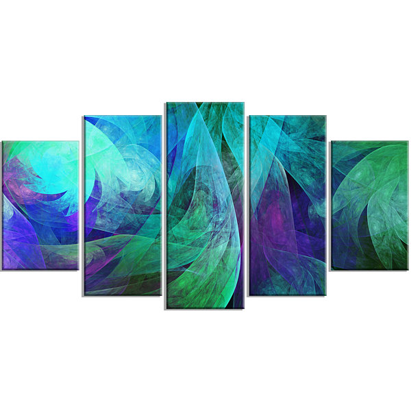 Designart Green Fractal Abstract Pattern Contemporary Art OnCanvas - 5 Panels