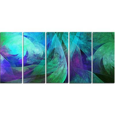 Green Fractal Abstract Pattern Abstract Art On Canvas - 5 Panels