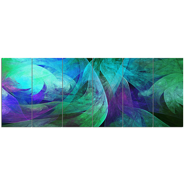 Design Art Green Fractal Abstract Pattern AbstractArt On Canvas - 6 Panels