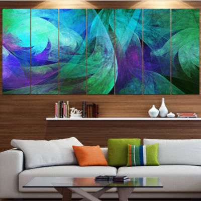 Designart Green Fractal Abstract Pattern AbstractArt On Canvas - 7 Panels