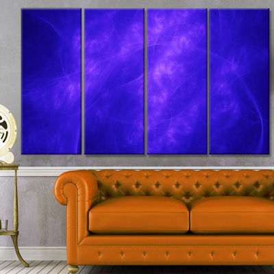 Designart Blue Fractal Abstract Pattern AbstractArt On Canvas - 4 Panels
