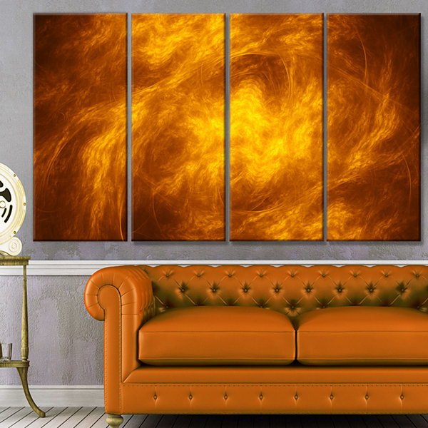 Design Art Brown Fractal Abstract Pattern AbstractArt On Canvas - 4 Panels
