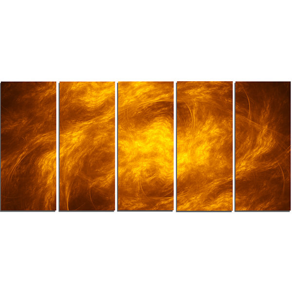 Designart Brown Fractal Abstract Pattern AbstractArt On Canvas - 5 Panels