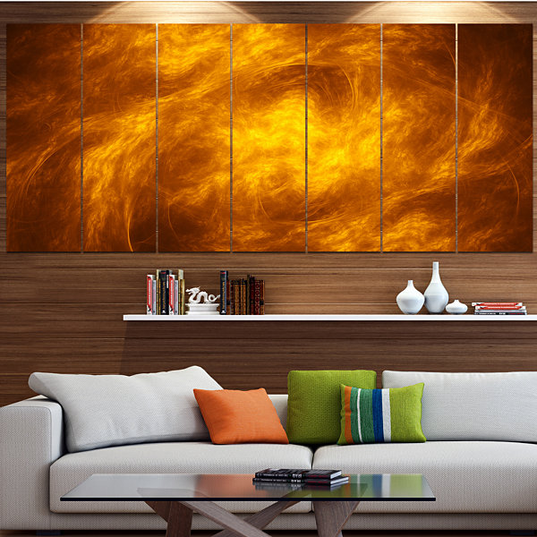 Design Art Brown Fractal Abstract Pattern AbstractArt On Canvas - 6 Panels