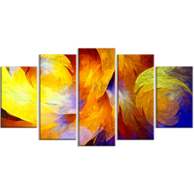 Designart Yellow Fractal Abstract Pattern Contemporary Art On Canvas - 5 Panels