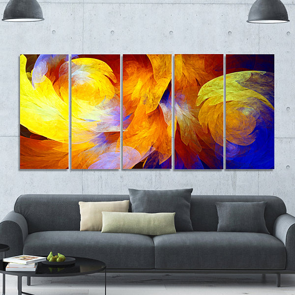 Design Art Yellow Fractal Abstract Pattern Abstract Art On Canvas - 5 Panels