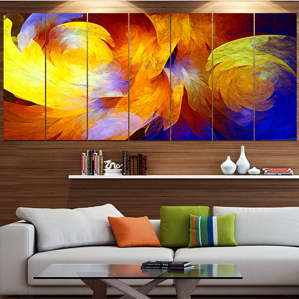 Designart Yellow Fractal Abstract Pattern AbstractArt On Canvas - 7 Panels