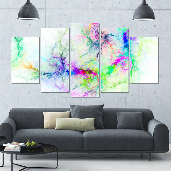 Designart Stormy Sky Fierce Lightning ContemporaryArt On Canvas - 5 Panels