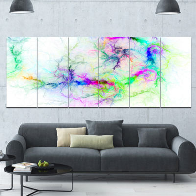 Designart Stormy Sky Fierce Lightning Abstract ArtOn Canvas- 6 Panels