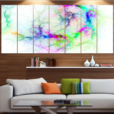 Design Art Stormy Sky Fierce Lightning Abstract Art On Canvas- 7 Panels