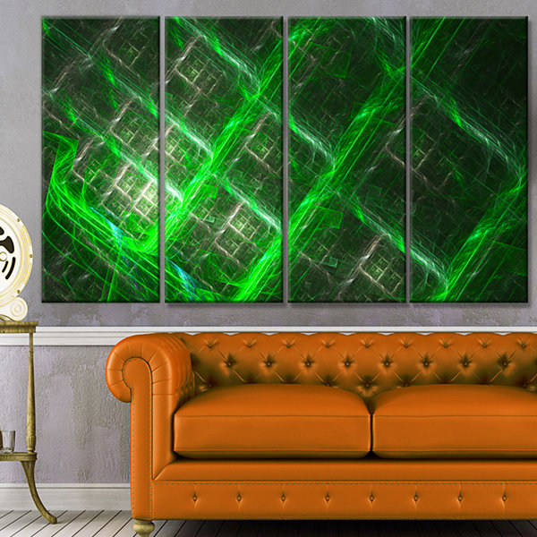 Design Art Green Abstract Metal Grill Abstract ArtOn Canvas- 4 Panels