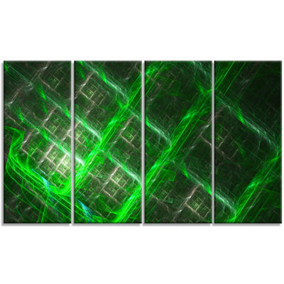 Designart Green Abstract Metal Grill Abstract ArtOn Canvas- 4 Panels