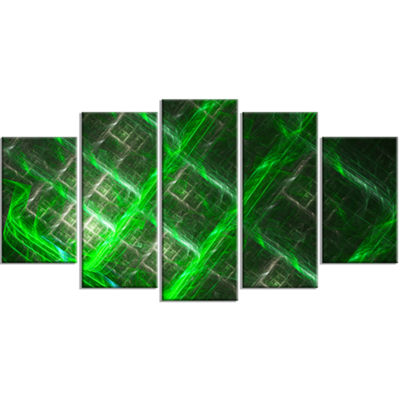 Designart Green Abstract Metal Grill ContemporaryArt On Canvas - 5 Panels