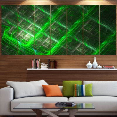 Green Abstract Metal Grill Abstract Art On Canvas- 5 Panels