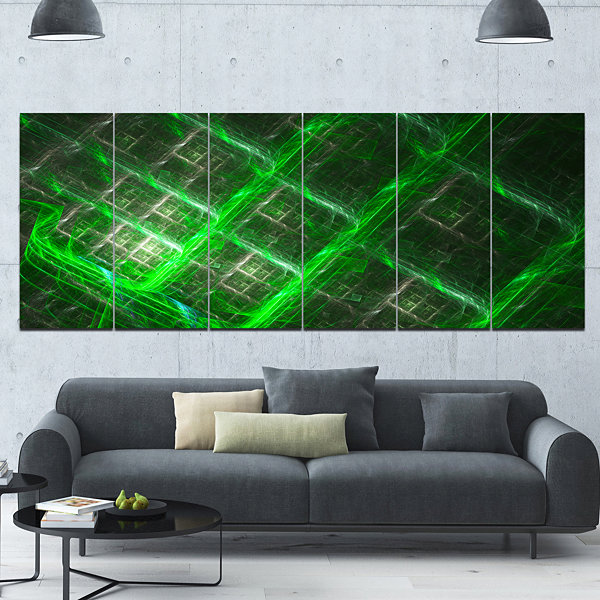 Design Art Green Abstract Metal Grill Abstract ArtOn Canvas- 6 Panels