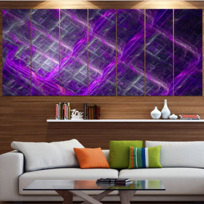 Purple Abstract Metal Grill Abstract Art On Canvas- 4 Panels