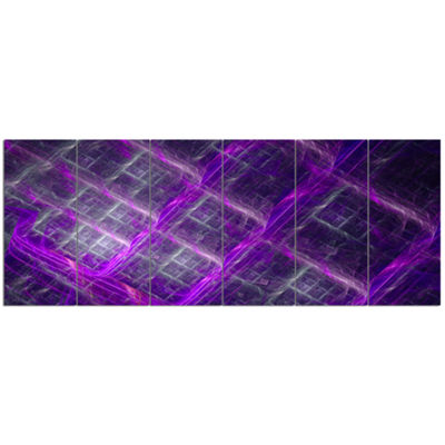 Designart Purple Abstract Metal Grill Abstract ArtOn Canvas- 6 Panels