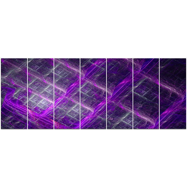 Designart Purple Abstract Metal Grill Abstract ArtOn Canvas- 7 Panels