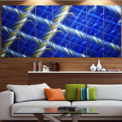 Blue Abstract Metal Grill Contemporary Art On Canvas - 5 Panels