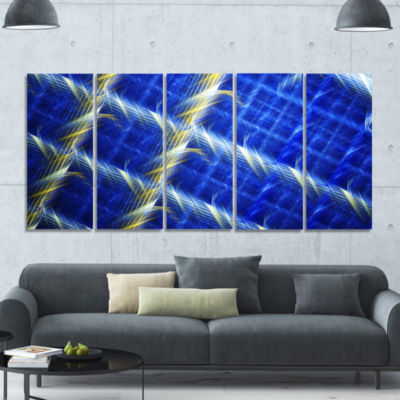 Blue Abstract Metal Grill Abstract Art On Canvas -5 Panels